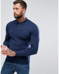 ASOS DESIGN Muscle Fit Knitted Polo In Navy