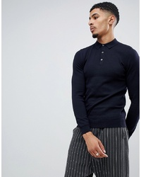 New Look Muscle Fit Knitted Polo In Navy