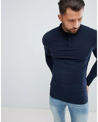 ASOS DESIGN Muscle Fit Long Sleeve Polo With Contrast Collar In Navy