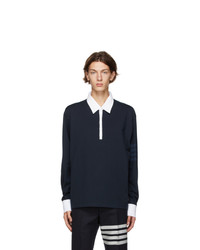Thom Browne Navy 4 Bar Rugby Long Sleeve Polo