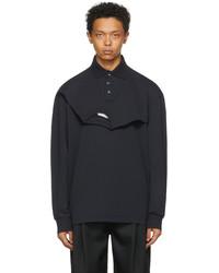 Feng Chen Wang Navy Double Collar Long Sleeve Polo