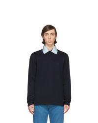 Lanvin Navy Gros Collar Long Sleeve Polo