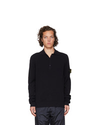 Stone Island Navy Knit Long Sleeve Polo