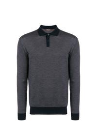 Loro Piana Patterned Long Sleeve Polo Shirt