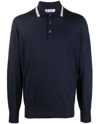 Brunello Cucinelli Striped Trim Polo Shirt