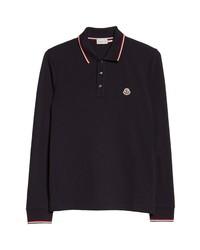 Moncler Tipped Long Sleeve Pique Polo