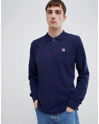 Fila White Line Bertoni Long Sleeve Polo Shirt In Navy