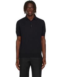 Loro Piana Black Baby Cashmere Long Sleeve Polo