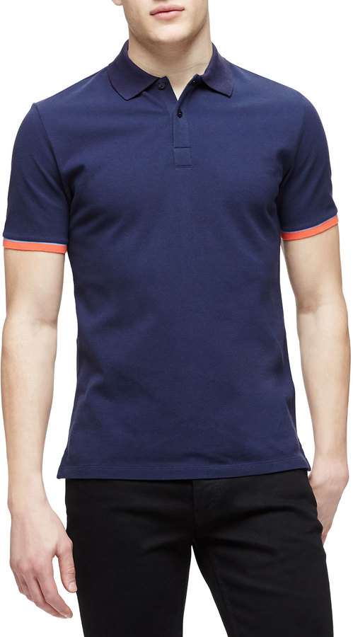 a0b6112dc $195, Burberry Brit Short Sleeve Tipped Pique Polo Shirt Navy
