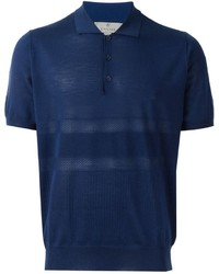 Canali Perforated Knitted Polo Shirt