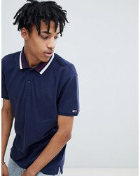 Tommy Jeans Classic Icon Tipped Pique Polo Relaxed Regular Fit In Navy