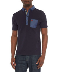 Fred Perry Contrast Pocket Woven Polo Shirt Navy