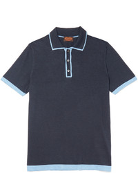 Tod's Contrast Tipped Silk And Cotton Blend Polo Shirt