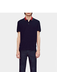 Gucci Cotton Piquet Polo Shirt With Web Collar Detail