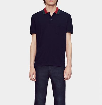 24fe8f726 Gucci Cotton Piquet Polo Shirt With Web Collar Detail, $440 | Gucci ...