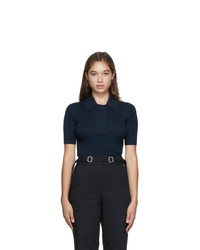 Proenza Schouler Navy And Black Knit Marl Polo
