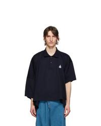 Lanvin Navy Asymmetric Polo