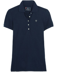 Prix cotton blend piqu polo shirt navy medium 442630