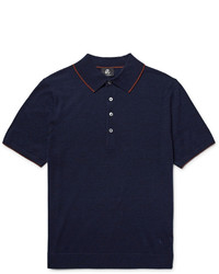 Paul Smith Ps By Contrast Tipped Knitted Merino Wool Polo Shirt