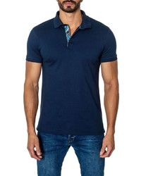 Jared Lang Short Sleeve Cotton Blend Polo Shirt Navy
