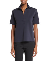 Helmut Lang Short Sleeve Scuba Polo Shirt Navy