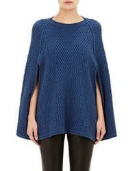 Barneys New York Honeycomb Stitched Cashmere Poncho Blue