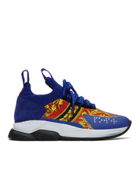 Versace Blue And Multicolor Cross Chain Reaction Sneakers