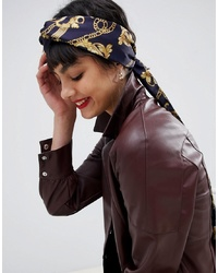 ASOS DESIGN Twist Block Blue Chain Print Headscarf