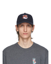 MAISON KITSUNÉ Navy Large 6p Fox Head Embroidery Cap