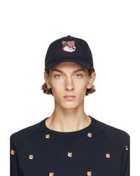 MAISON KITSUNÉ Navy Six Panel Large Fox Head Embroidery Cap