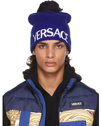 Versace Blue Wool Logo Beanie