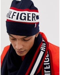 Tommy Hilfiger Logo Knitted Beanie In Navy