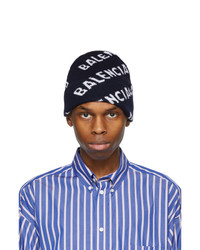 Balenciaga Navy And White Logo Beanie