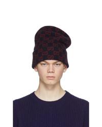 Gucci Navy Wool Gg Beanie