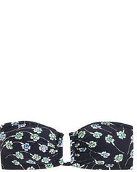 J.Crew U Front Bandeau Bikini Top In Falling Floral Print