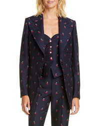 Gucci Gg Cherry Cotton Wool Fil Coupe Blazer