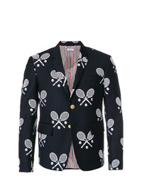 Thom Browne High Armhole Single Breasted Sport Coat In Super 120s Twill With Broderie Anglaise Tennis Racket Half Drop