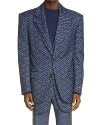 Versace La Greca Monogram Jacquard Wool Blend Suit Jacket