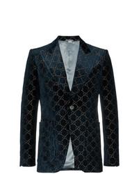 Gucci Logo Jacquard Cotton Blend Velvet Blazer