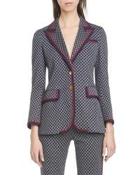 Gucci Square G Logo Jacquard Knit Jacket