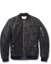 MAISON KITSUNÉ Maison Kitsun Camouflage Jacquard Cotton Blend Bomber Jacket
