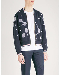 Thom Browne Tennis Embroidered Cotton Jersey Zip Up Sweatshirt