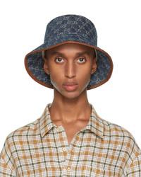 Gucci Blue Brown Canvas Gg Bucket Hat
