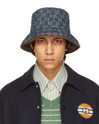 Gucci Blue Canvas Gg Bucket Hat