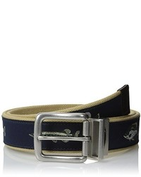 Berkley 35 Mm Canvas Fish Printed Belt With Leather Trim Tip And Buckle