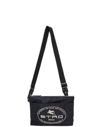 Etro Navy Paisley Logo Messenger Bag
