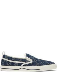 Gucci Blue Denim Tennis 1977 Slip On Sneakers