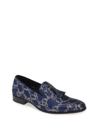 Navy Print Canvas Tassel Loafers