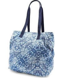 Navy Print Canvas Tote Bag