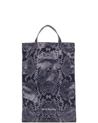 Acne Studios Navy And White Python Print Tote